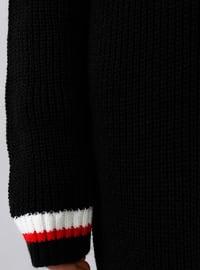 Black - Stripe - V neck Collar - Acrylic -  - Jumper