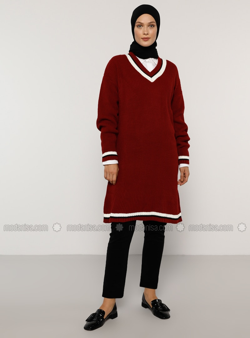 Maroon - Stripe - V neck Collar - Acrylic - - Jumper