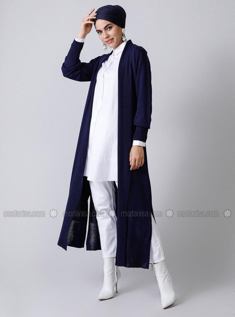 Navy Blue - Acrylic -  - Cardigan