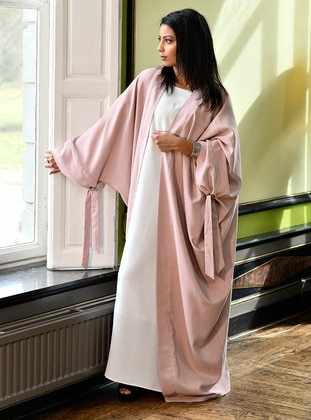 Pink - Unlined - Shawl Collar - Cotton - Abaya