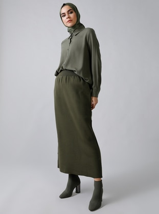 Khaki - Unlined - Acrylic -  - Skirt