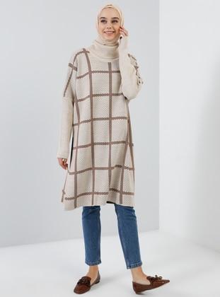 Beige - Checkered - Polo neck - Acrylic - - Tunic