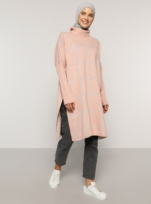 Pink - Checkered - Polo neck - Acrylic - - Tunic