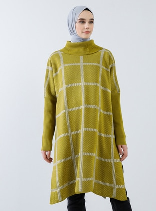 Green - Checkered - Polo neck - Acrylic -  - Tunic
