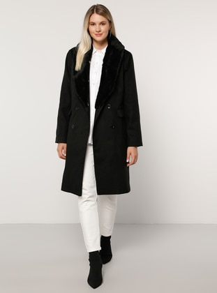 Black - Fully Lined - Viscose - Plus Size Overcoat