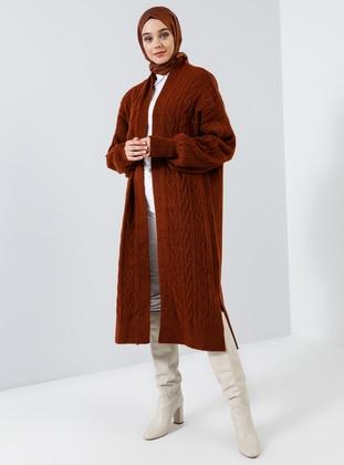 Brown - Terra Cotta - Red - Shawl Collar - Acrylic -  - Cardigan