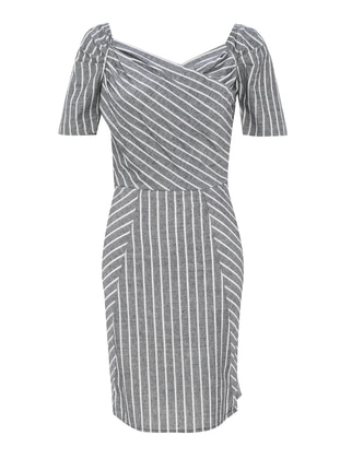 Black - Stripe - Boat neck - Half Lined - Cotton - Dress