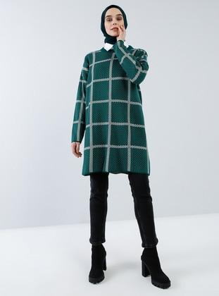 Green - Checkered - Polka Dot - Crew neck - Acrylic - - Tunic