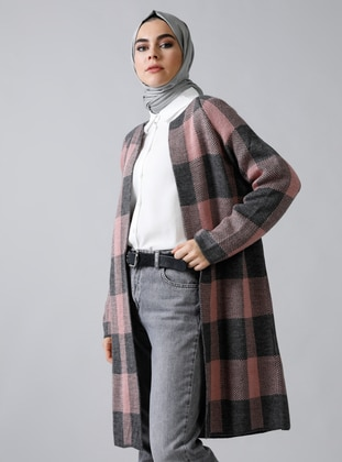 Gray - Pink - Plaid - Acrylic -  - Cardigan - Refka