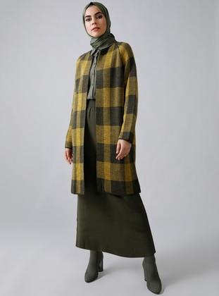 Khaki - Mustard - Plaid - Acrylic -  - Cardigan