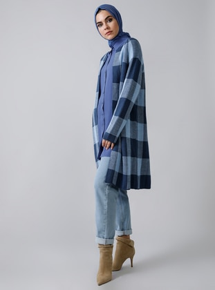 Indigo - Blue - Plaid - Acrylic -  - Cardigan