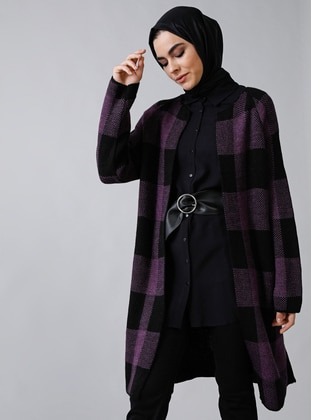 Purple - Black - Plaid - Acrylic -  - Cardigan