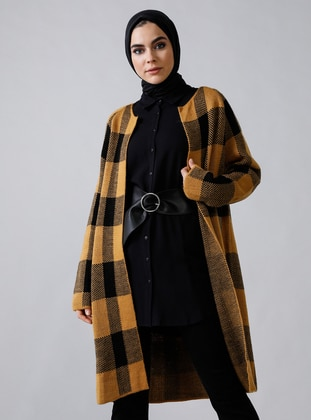 Mustard - Black - Plaid - Acrylic -  - Cardigan