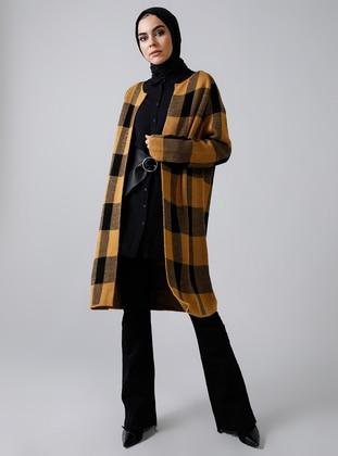 Mustard - Black - Plaid - Acrylic -  - Cardigan
