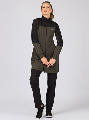 Black - Khaki - Cotton - Polo neck - Tracksuit Set