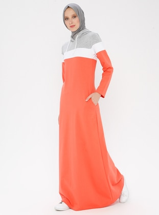 Coral - Unlined - Cotton - Dress