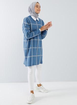 Blue - Checkered - Polka Dot - Crew neck - Acrylic -  - Tunic