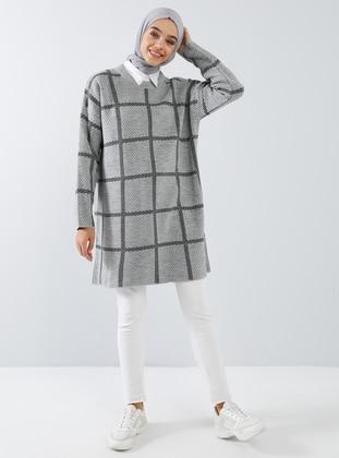 Silver tone - Checkered - Polka Dot - Crew neck - Acrylic -  - Tunic