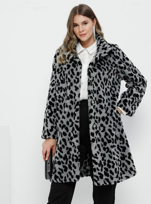 Gray - Black - Leopard - Unlined - Acrylic - Plus Size Overcoat