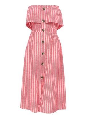 Red - Stripe - Boat neck - Unlined - Cotton - Dress