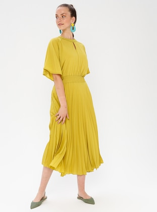 Green - Olive Green - Crew neck - Fully Lined - Dress