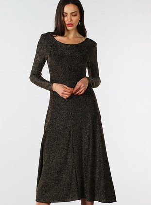 Gold - Crew neck - Fully Lined - Dress