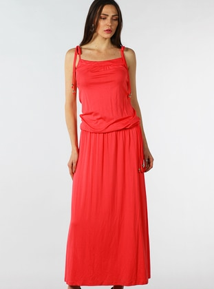 Coral - Sweatheart Neckline - Fully Lined - Dress