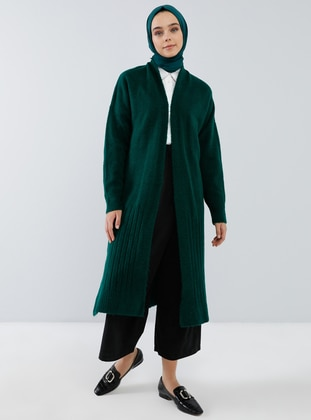 Green - Emerald - Shawl Collar - Acrylic - - Cardigan