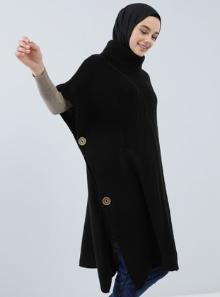 Black - Polo neck - Unlined - Acrylic -  - Poncho