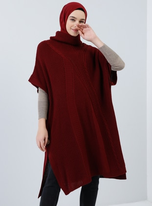 Cherry - Polo neck - Unlined - Acrylic -  - Poncho