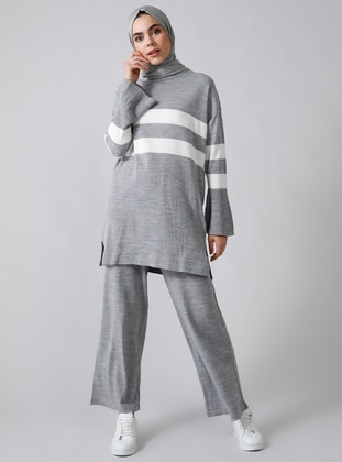 Gray - Stripe - Unlined - Acrylic -  - Suit