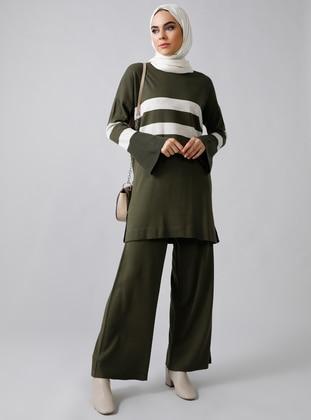 Khaki - Stripe - Unlined - Acrylic -  - Suit