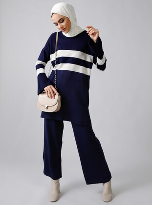 Navy Blue - Stripe - Unlined - Acrylic -  - Suit