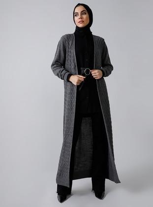 Gray - Acrylic -  - Cardigan