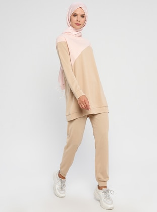 Beige - Powder - Unlined - Suit