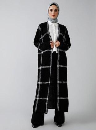 Gray - Black - Acrylic -  - Cardigan
