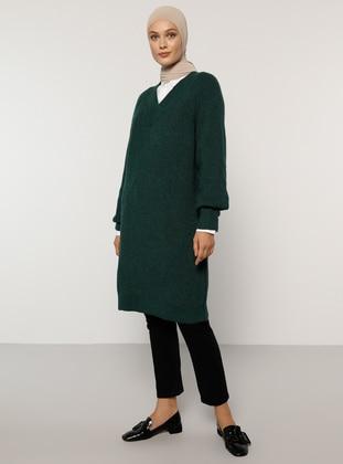 Green - Emerald - V neck Collar - Acrylic - - Jumper