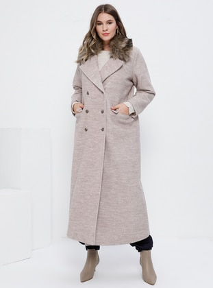 Beige - Fully Lined - Wool Blend - Plus Size Overcoat