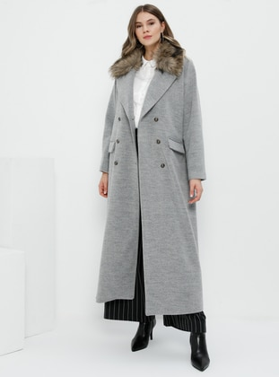 Gray - Fully Lined - Wool Blend - Plus Size Overcoat