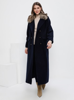 Navy Blue - Fully Lined - Wool Blend - Plus Size Overcoat