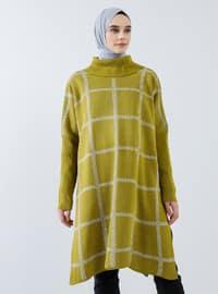 Green - Checkered - Polo neck - Acrylic - - Tunic