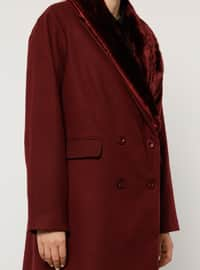 Maroon - Fully Lined - Viscose - Plus Size Overcoat