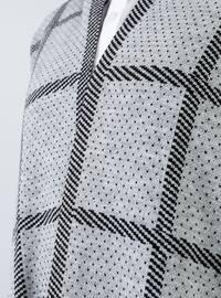 Silver tone - Checkered - Polka Dot - Shawl Collar - Acrylic -  - Cardigan