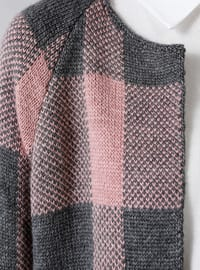 Gray - Pink - Plaid - Acrylic -  - Cardigan