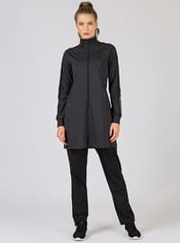 Black - Anthracite - Cotton - Polo neck - Tracksuit Set