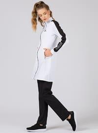 Black - White - Cotton - Polo neck - Tracksuit Set
