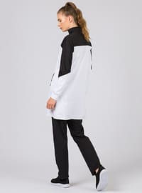 Black - White - Cotton - Polo neck - Tracksuit Set