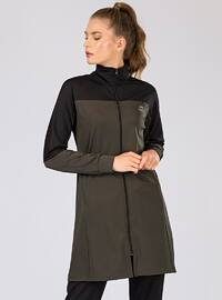 Black - Khaki - Cotton - Polo neck - Tracksuit Set