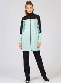 Blue - Black - Cotton - Polo neck - Tracksuit Set