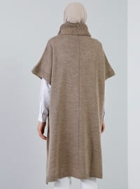 Mink - Polo neck - Unlined - Acrylic -  - Poncho